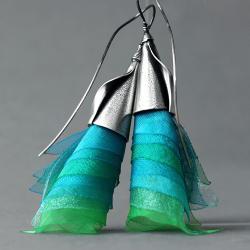 kolczyki długie turkusowe ze srebra - Kolczyki - Biżuteria