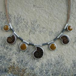 naszyjnik,amonity,brąz,kolory ziemi - Naszyjniki - Biżuteria