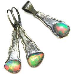 opal,srebrny,szary,blask,szarości,neonowy,fiolet, - Komplety - Biżuteria