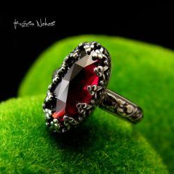 nehesi,pierścionek,srebrny,pierscionek,granatem - Pierścionki - Biżuteria