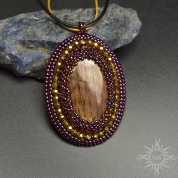labradoryt,medalion,różowy,ażurowy,owal,romantyczn - Wisiory - Biżuteria