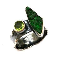 uwarowit,wiosna,srebrny,blask,szarości,oliwin - Pierścionki - Biżuteria