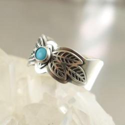 pierścionek,obrączka,turkus,niebieski,boho - Pierścionki - Biżuteria