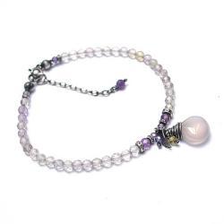 kamienie,minerały,delikatna,pastelowa - Bransoletki - Biżuteria