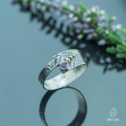 złoto,srebrny pierścionek,ametyst,ornament - Pierścionki - Biżuteria
