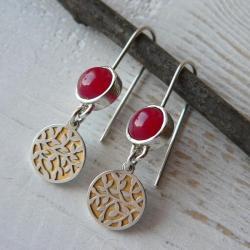 z agatami,pozłacane,delikatne kolczyki - Kolczyki - Biżuteria