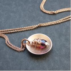 srebro,złocone,różowe złoto,granat - Naszyjniki - Biżuteria