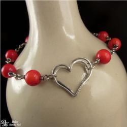 koral,serce,bransoletka,walentynki,czerwona - Bransoletki - Biżuteria