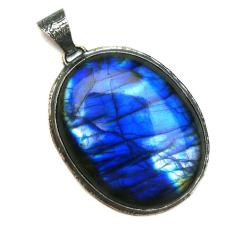 labradoryt,blask,srebrny,kobalt,niebieski,okazały - Wisiory - Biżuteria