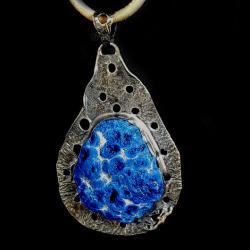 azuryt,kobalt,srebrny,szarości,unikat,mineralny, - Wisiory - Biżuteria