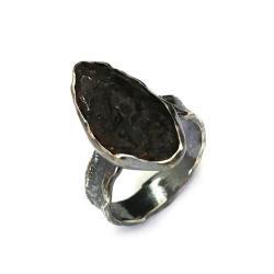 meteoryt,srebrny,szary,oksyda,unikat,retro,surowy - Pierścionki - Biżuteria