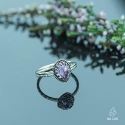 retro,romantyczny,elegancki,ametyst - Pierścionki - Biżuteria