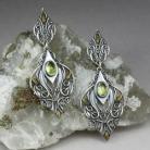 Kolczyki elfie kolczyki,słoneczna zieleń,złocone,elfickie
