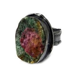 zoisyt,rubin,blask,zieleń,srebrny,szarości,oksyda - Pierścionki - Biżuteria