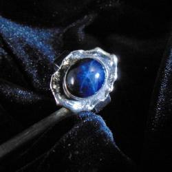 Pierścionek srebrny z szafirem - Pierścionki - Biżuteria