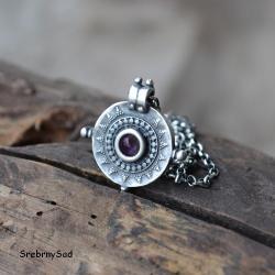 mandala z kamieniem,ametyst - Naszyjniki - Biżuteria