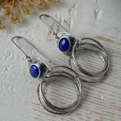 kolczyki koła,z lapisem lazuli,surowe srebro, - Kolczyki - Biżuteria