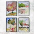 Obrazy pejzaż,akwarela,drzewa