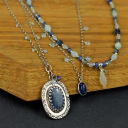 komplet,zestaw,naszyjnik,wisior,retro,niebieski, - Naszyjniki - Biżuteria