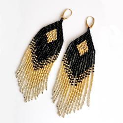 kolczyki,Boho,Indianskie,Zlote,czarne,długie - Kolczyki - Biżuteria