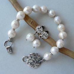 z perłami,perła hodowlana,surowe srebro - Komplety - Biżuteria