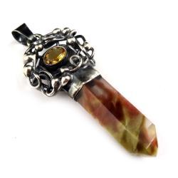 kwarc,jesienny,blask,cytryn,złocisty,srebrny,retro - Wisiory - Biżuteria