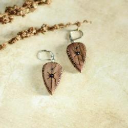 drewniane kolczyki,kolczyki z ametystami - Kolczyki - Biżuteria