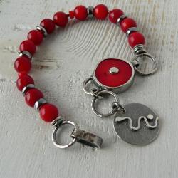 z koralem,boho,srebro oksydowane - Bransoletki - Biżuteria