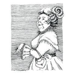 ilustracja,tusz,dama,obrazek,wydruk - Ilustracje, rysunki, fotografia - Wyposażenie wnętrz