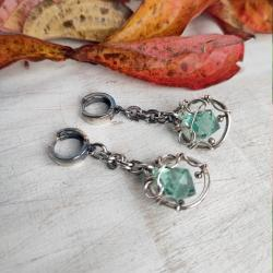 kolczyki,kwarc,srebro,wire wrapping - Kolczyki - Biżuteria