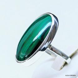 pierścionek z malachitem,srebro,biżuteria,pierścio - Pierścionki - Biżuteria