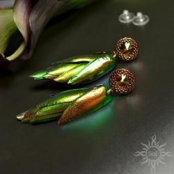swarovski,miedziane,efektowne,gronka,lekkie,jesień - Kolczyki - Biżuteria