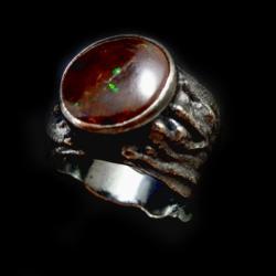 opal,boulder,srebrny,okazały,tęczowy,srebro,retro - Pierścionki - Biżuteria