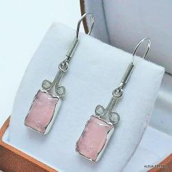 kolczyki z różowym kwarcem,srebro,biżuteria - Kolczyki - Biżuteria