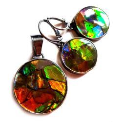 ammolit,raj,srebrne,blask,tęcza,unikat,srebrne - Komplety - Biżuteria