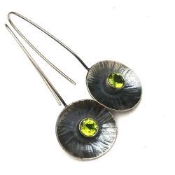 peridoty,srebrne,srebro,oliwiny,blask,szare,długie - Kolczyki - Biżuteria