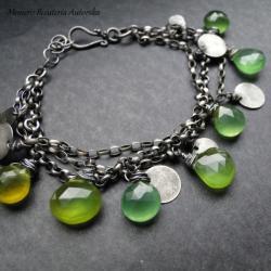 srebro,chalcedon,zielone,oksydowane,surowe - Bransoletki - Biżuteria