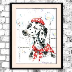 akwarela,pies,obraz,jasny,bajkowy - Obrazy - Wyposażenie wnętrz