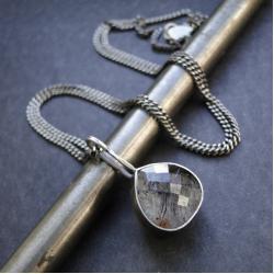 srebro,kwarc rutylowy,naszyjnik,oksydowany - Naszyjniki - Biżuteria