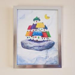miasteczko,koty,obraz,akwarela - Obrazy - Wyposażenie wnętrz