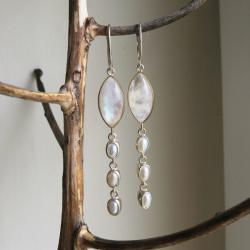 srebrne kolczyki,długie kolczyki z perłami - Kolczyki - Biżuteria