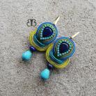Kolczyki kolczyki,sutasz,soutache,lapis,niebieski,