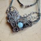 Naszyjniki naszyjnik,liść,wire wrapping,miedziany naszyjnik