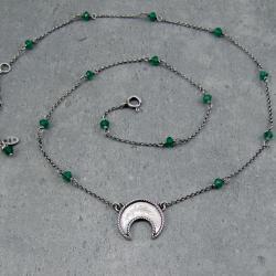 boho,księżyc,lunula,delikatny,łańcuszek, - Naszyjniki - Biżuteria