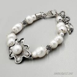 Srebrna bransoleta z perłami - Bransoletki - Biżuteria