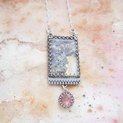 srebrny,naszyjnik,z agatem mszystym,z kwarcem - Naszyjniki - Biżuteria