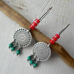 z koralem,turkusowe kolczyki,boho styl - Kolczyki - Biżuteria
