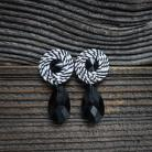 Kolczyki małe kolczyki,czarno białe,minimal