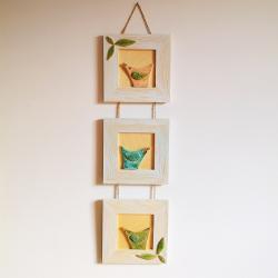 obrazki,obrazek drewniany,ceramika,drewno,ptak - Inne - Wyposażenie wnętrz