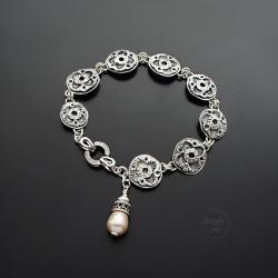 srebrna,bransoletka,z perłą,z kwiatami - Bransoletki - Biżuteria